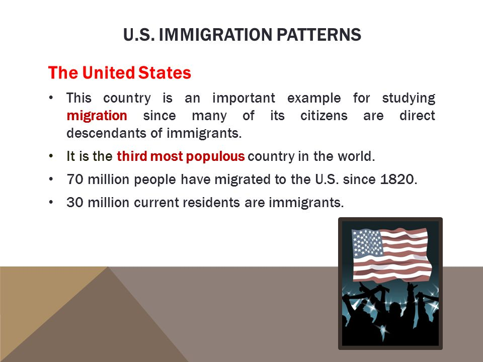 U.S. IMMIGRATION PATTERNS The United States This country is an important example for studying migration since many of its citizens are direct descenda