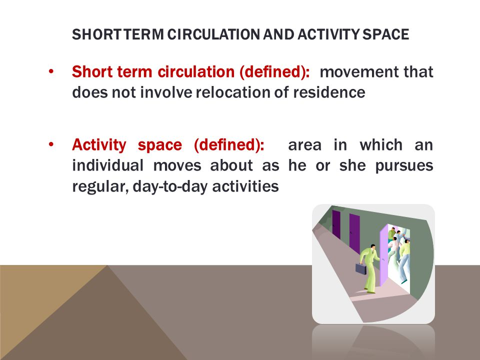Short term circulation (defined): movement that does not involve relocation of residence Activity space (defined): area in which an individual moves about as he or she pursues regular, day-to-day activities