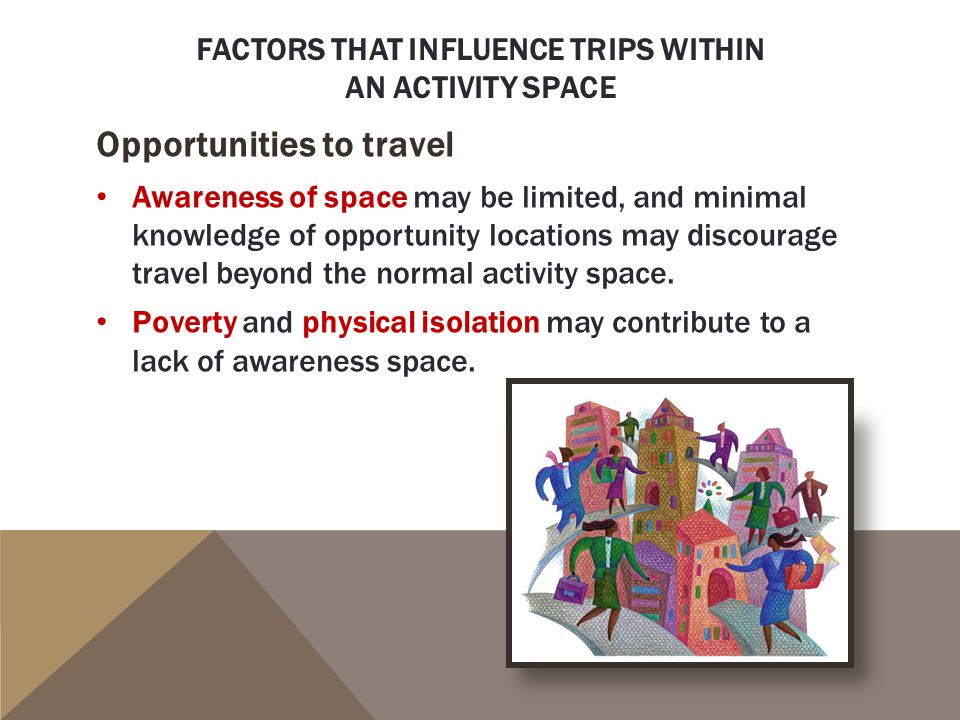 FACTORS THAT INFLUENCE TRIPS WITHIN AN ACTIVITY SPACE Opportunities to travel Awareness of space may be limited, and minimal knowledge of opportunity locations may discourage travel beyond the normal activity space.
