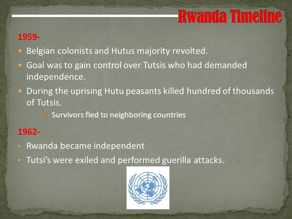 1973- Hutu Dictator - military coup.1990- Start of the Rwandan Patriotic Front (RPF).