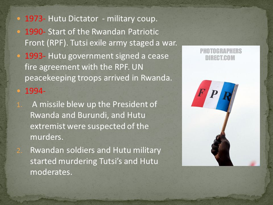 1994 (Cont.)- 3.Tutsi's and Hutu moderate refugees fled to neighboring countries.