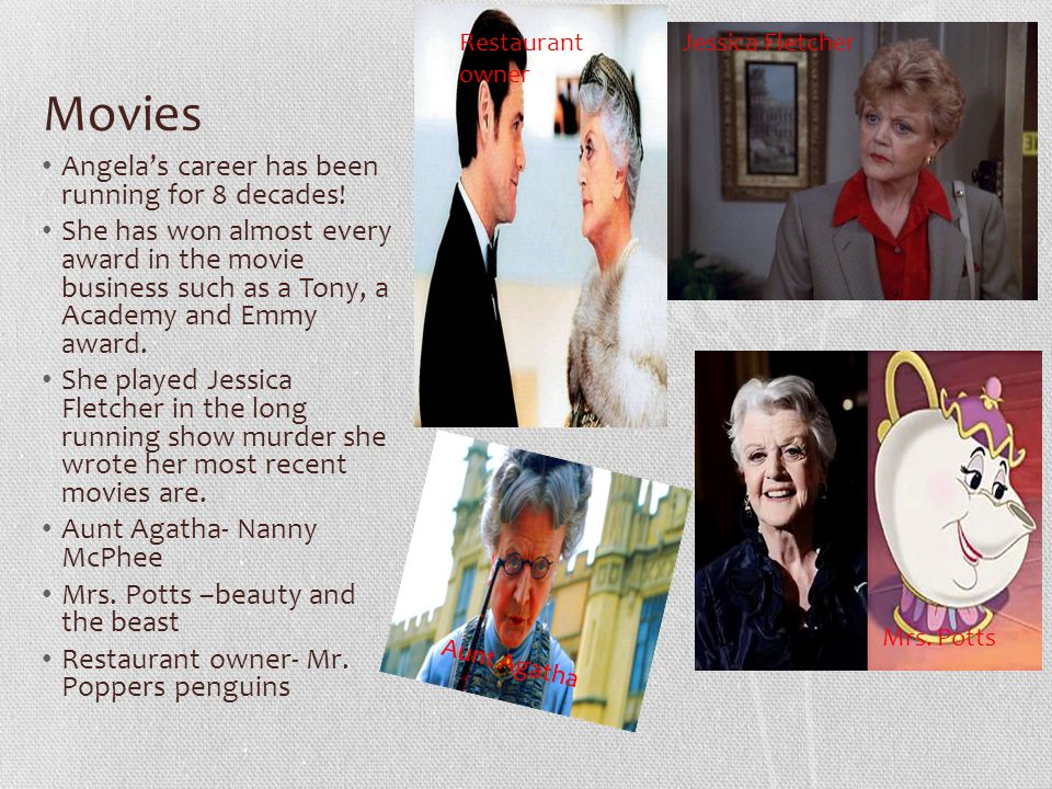 Movies Angela's career has been running for 8 decades.