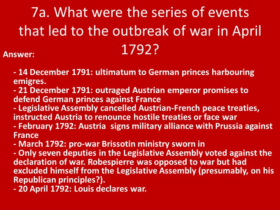 Answer: - 14 December 1791: ultimatum to German princes harbouring emigres.