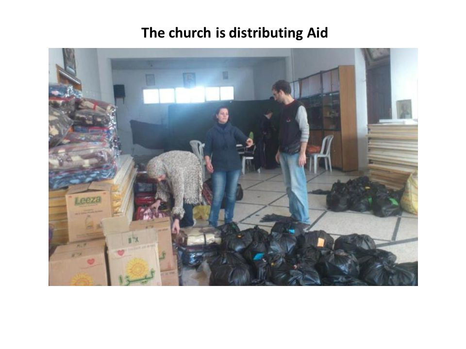 The church is distributing Aid