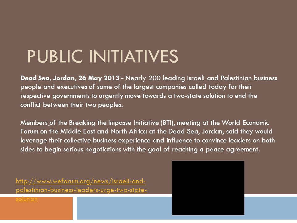 PUBLIC INITIATIVES Dead Sea, Jordan, 26 May 2013 - Nearly 200 leading Israeli and Palestinian business people and executives of some of the largest companies called today for their respective governments to urgently move towards a two-state solution to end the conflict between their two peoples.