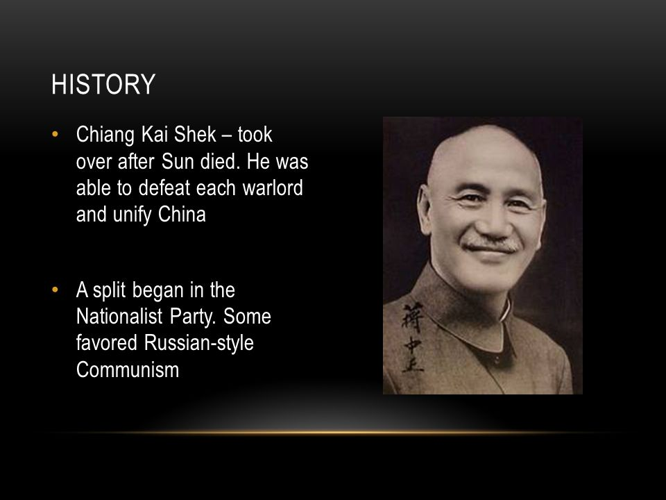 Chiang Kai Shek – took over after Sun died.