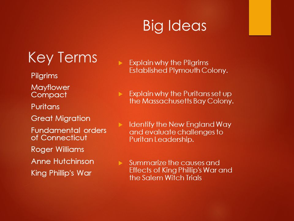 Key Terms  Explain why the Pilgrims Established Plymouth Colony.  Explain why the Puritans set up the Massachusetts Bay Colony.  Identify the New E