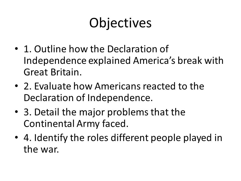Reasons for Independence The two basic reasons for independence: A.