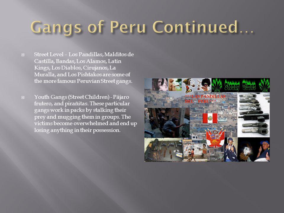  Street Level – Los Pandillas, Malditos de Castilla, Bandas, Los Alamos, Latin Kings, Los Diablos, Cirujanos, La Muralla, and Los Pishtakos are some of the more famous Peruvian Street gangs.