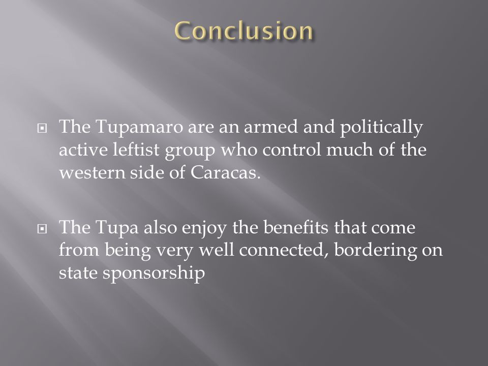  The Tupamaro are an armed and politically active leftist group who control much of the western side of Caracas.  The Tupa also enjoy the benefits t