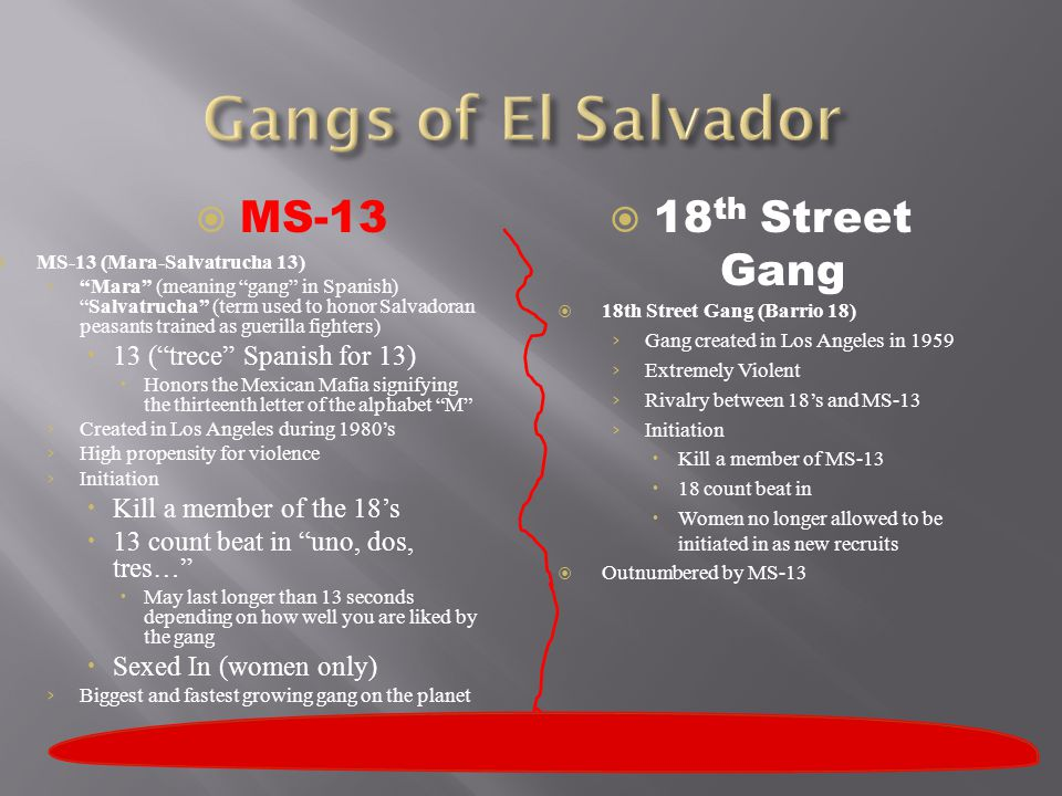 " MS-13 (Mara-Salvatrucha 13) › ""Mara"" (meaning ""gang"" in Spanish) ""Salvatrucha"" (term used to honor Salvadoran peasants trained as guerilla fighters)"