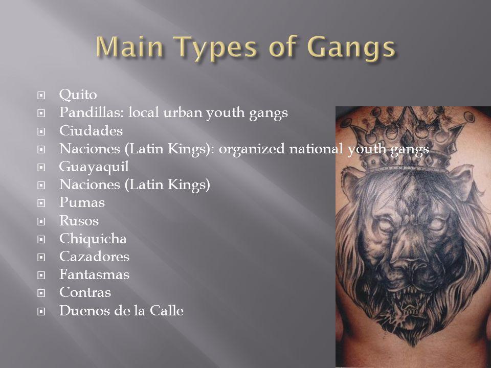  Quito  Pandillas: local urban youth gangs  Ciudades  Naciones (Latin Kings): organized national youth gangs  Guayaquil  Naciones (Latin Kings)  Pumas  Rusos  Chiquicha  Cazadores  Fantasmas  Contras  Duenos de la Calle