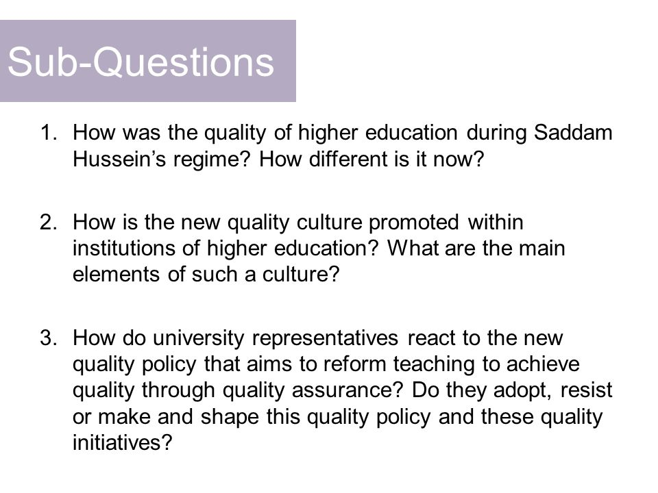 Discussion: Conceptual Framework What does quality education means to university representatives.