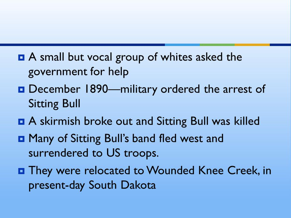  A small but vocal group of whites asked the government for help  December 1890—military ordered the arrest of Sitting Bull  A skirmish broke out and Sitting Bull was killed  Many of Sitting Bull's band fled west and surrendered to US troops.