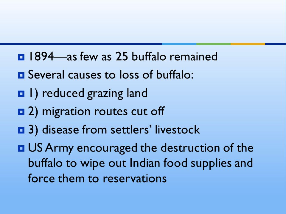  1894—as few as 25 buffalo remained  Several causes to loss of buffalo:  1) reduced grazing land  2) migration routes cut off  3) disease from settlers' livestock  US Army encouraged the destruction of the buffalo to wipe out Indian food supplies and force them to reservations