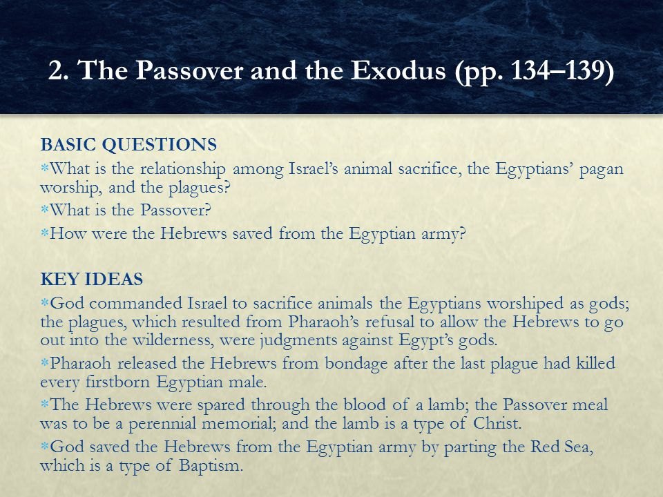 BASIC QUESTIONS  What is the relationship among Israel's animal sacrifice, the Egyptians' pagan worship, and the plagues?  What is the Passover?  H