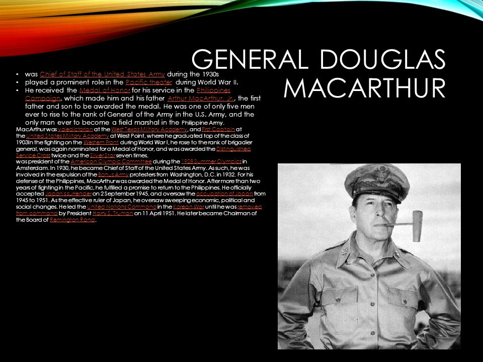 GENERAL DOUGLAS MACARTHUR was Chief of Staff of the United States Army during the 1930sChief of Staff of the United States Army played a prominent rol
