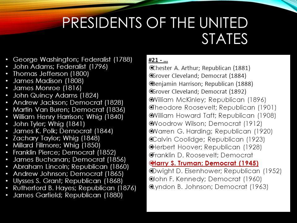 PRESIDENTS OF THE UNITED STATES George Washington; Federalist (1788) John Adams; Federalist (1796) Thomas Jefferson (1800) James Madison (1808) James