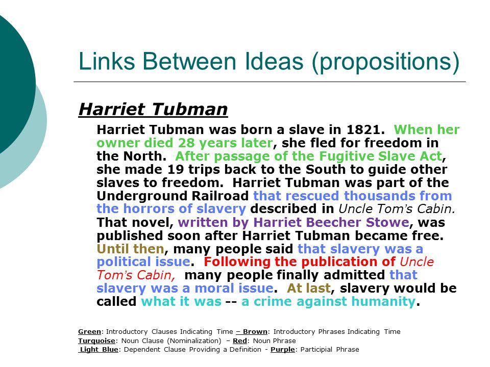 Links Between Ideas (propositions) Harriet Tubman Harriet Tubman was born a slave in 1821.