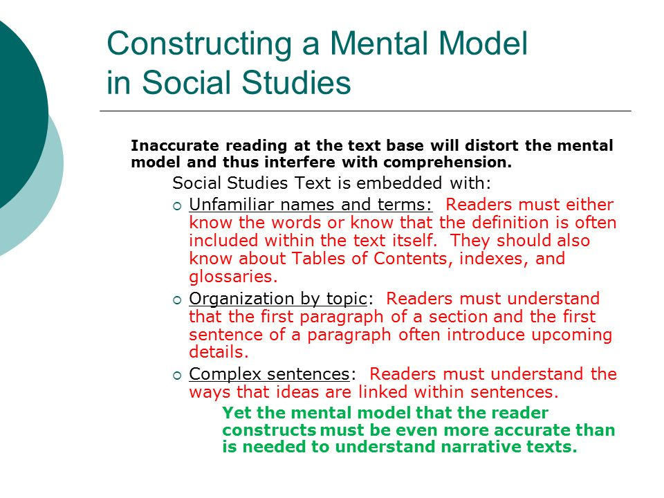Constructing a Mental Model in Social Studies Inaccurate reading at the text base will distort the mental model and thus interfere with comprehension.