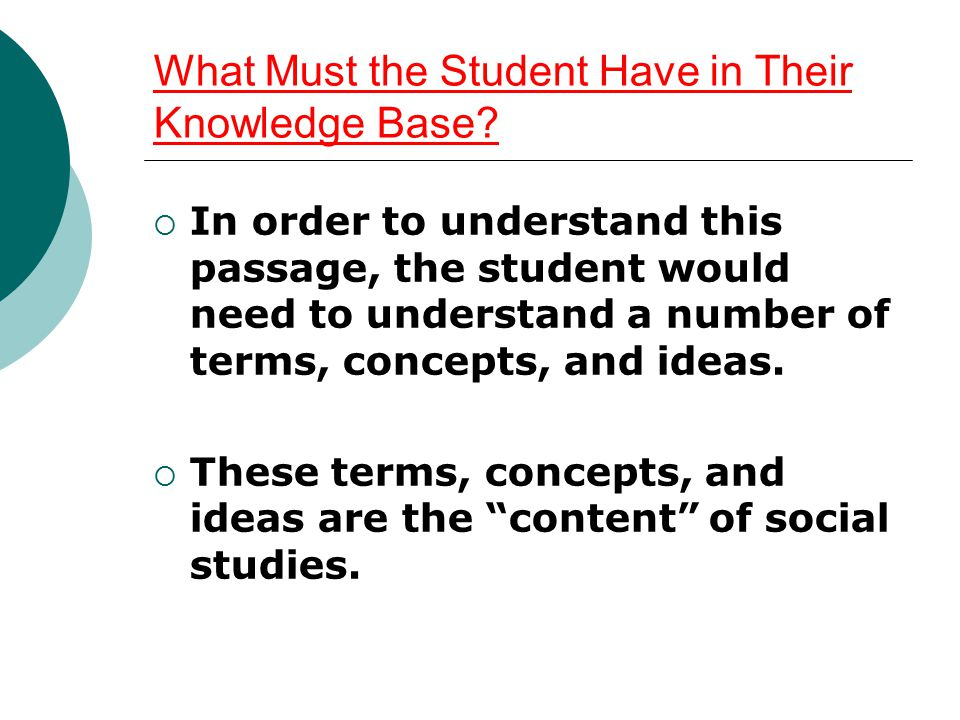 What Must the Student Have in Their Knowledge Base?  In order to understand this passage, the student would need to understand a number of terms, con