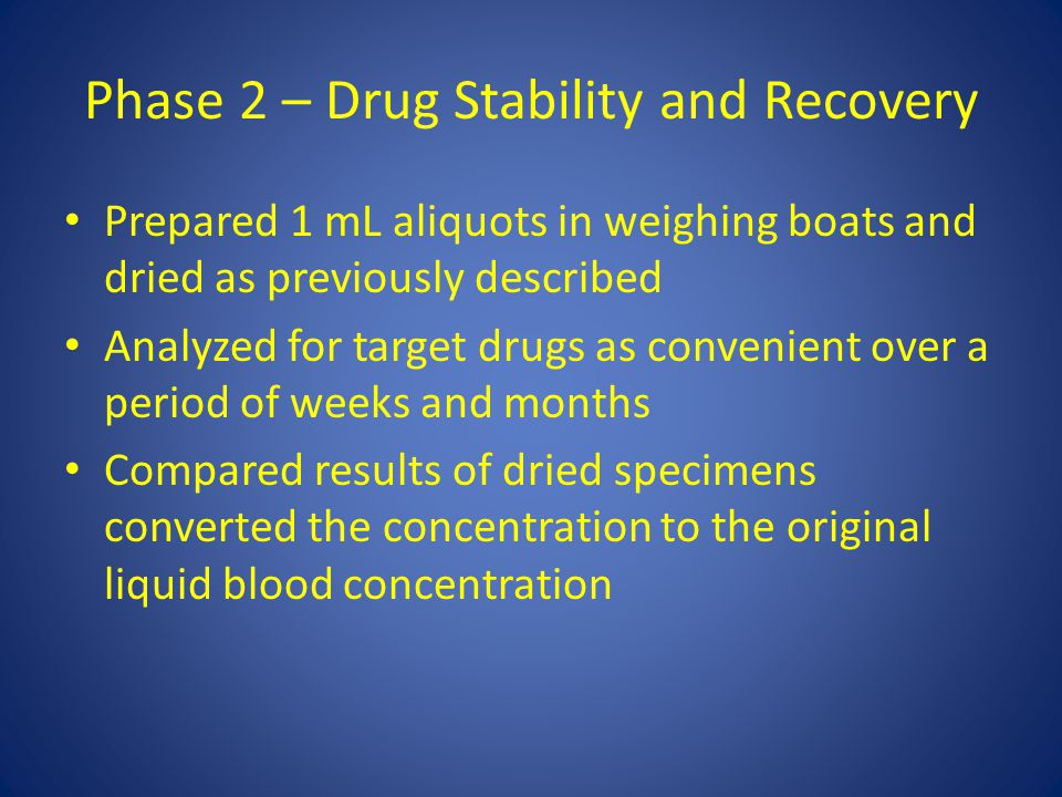 Phase 2 – Drug Stability and Recovery Prepared 1 mL aliquots in weighing boats and dried as previously described Analyzed for target drugs as convenient over a period of weeks and months Compared results of dried specimens converted the concentration to the original liquid blood concentration