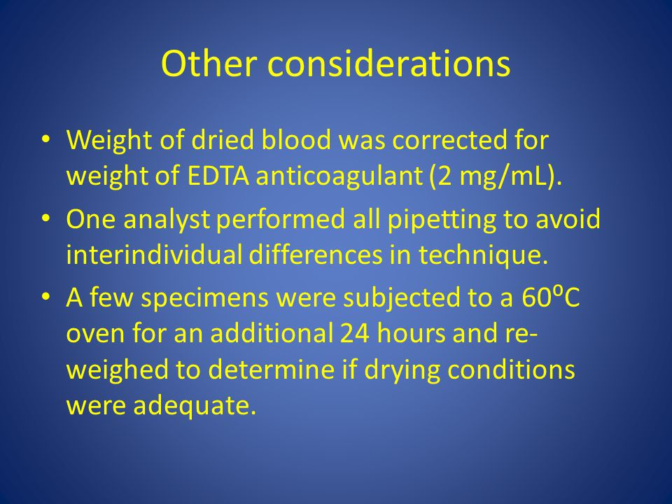 Other considerations Weight of dried blood was corrected for weight of EDTA anticoagulant (2 mg/mL).