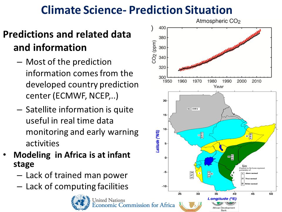 Climate Science- Prediction Situation Predictions and related data and information – Most of the prediction information comes from the developed country prediction center (ECMWF, NCEP,..) – Satellite information is quite useful in real time data monitoring and early warning activities Modeling in Africa is at infant stage – Lack of trained man power – Lack of computing facilities