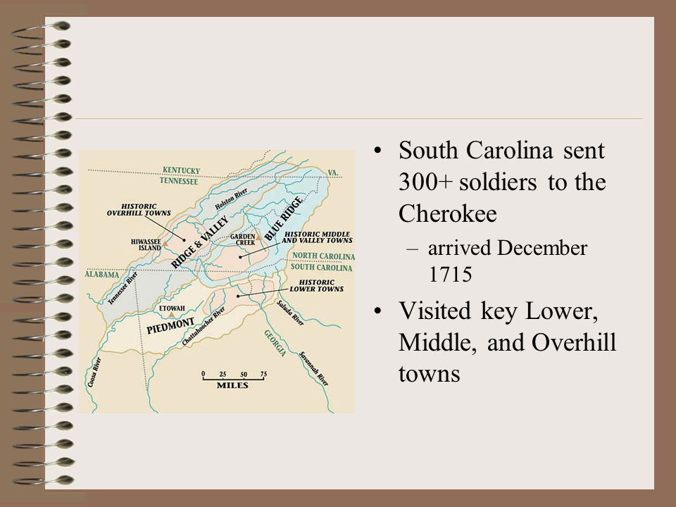 South Carolina sent 300+ soldiers to the Cherokee –arrived December 1715 Visited key Lower, Middle, and Overhill towns
