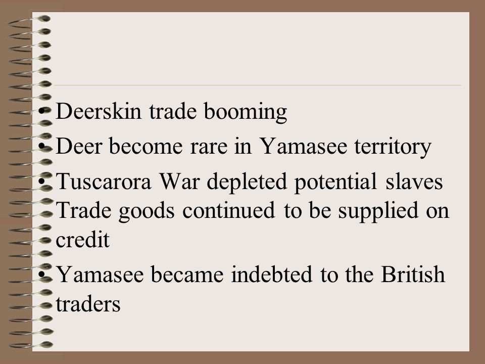 Deerskin trade booming Deer become rare in Yamasee territory Tuscarora War depleted potential slaves Trade goods continued to be supplied on credit Yamasee became indebted to the British traders