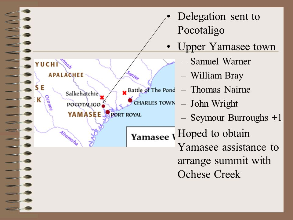 Delegation sent to Pocotaligo Upper Yamasee town –Samuel Warner –William Bray –Thomas Nairne –John Wright –Seymour Burroughs +1 Hoped to obtain Yamasee assistance to arrange summit with Ochese Creek