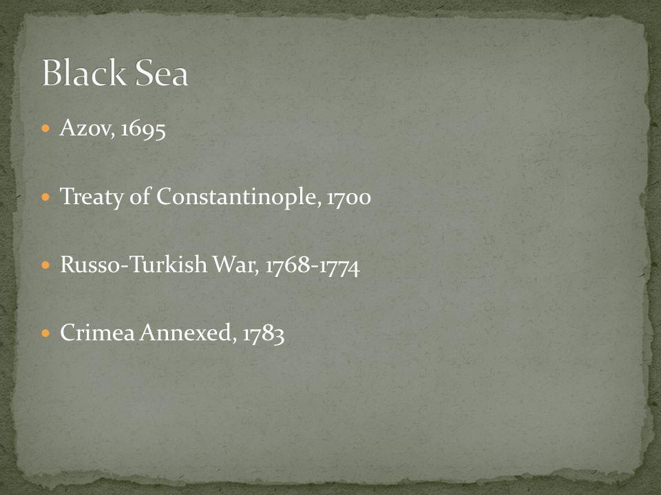 Azov, 1695 Treaty of Constantinople, 1700 Russo-Turkish War, 1768-1774 Crimea Annexed, 1783