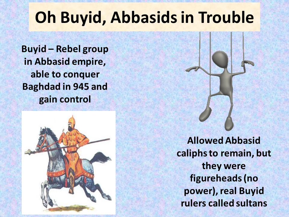 Oh Buyid, Abbasids in Trouble Buyid – Rebel group in Abbasid empire, able to conquer Baghdad in 945 and gain control Allowed Abbasid caliphs to remain, but they were figureheads (no power), real Buyid rulers called sultans