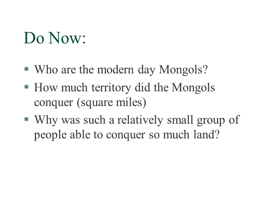 SWBAT §Describe the impact that the Mongols had on the territories they conquered