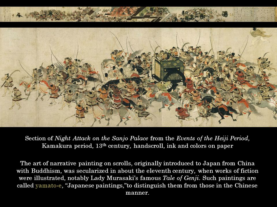 Section of Night Attack on the Sanjo Palace from the Events of the Heiji Period, Kamakura period, 13 th century, handscroll, ink and colors on paper T