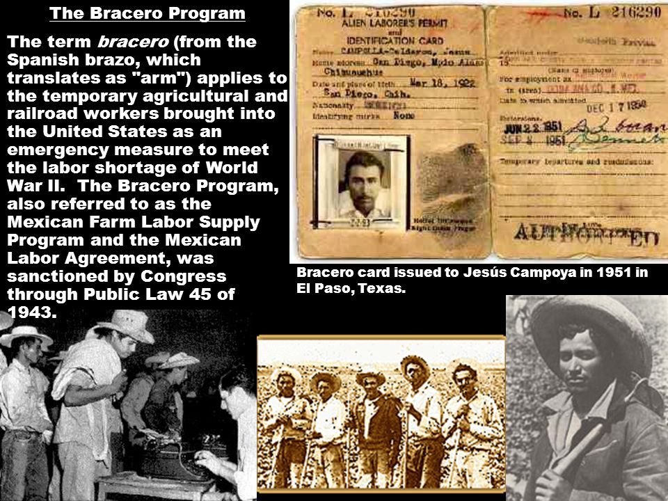 Bracero card issued to Jesús Campoya in 1951 in El Paso, Texas. The Bracero Program The term bracero (from the Spanish brazo, which translates as