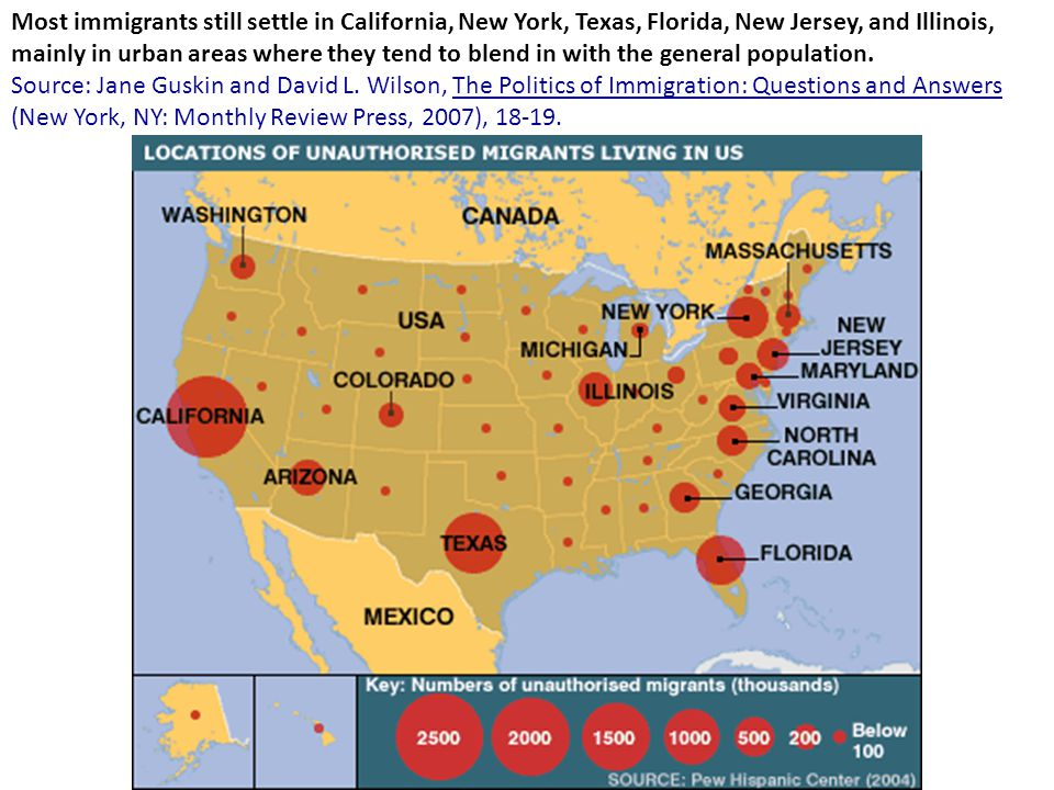 Most immigrants still settle in California, New York, Texas, Florida, New Jersey, and Illinois, mainly in urban areas where they tend to blend in with