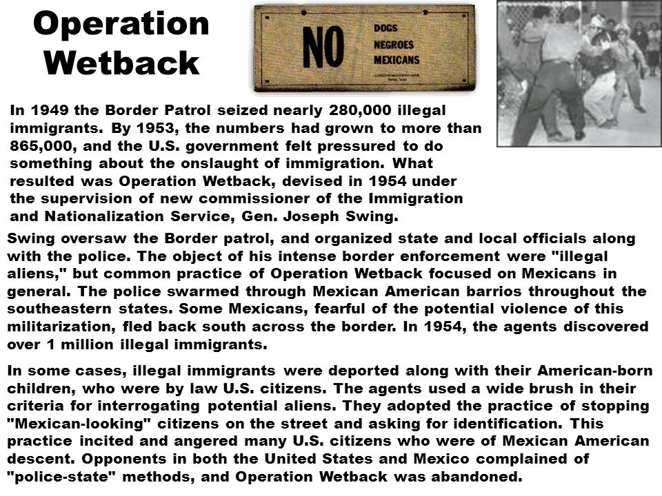 In 1949 the Border Patrol seized nearly 280,000 illegal immigrants. By 1953, the numbers had grown to more than 865,000, and the U.S. government felt
