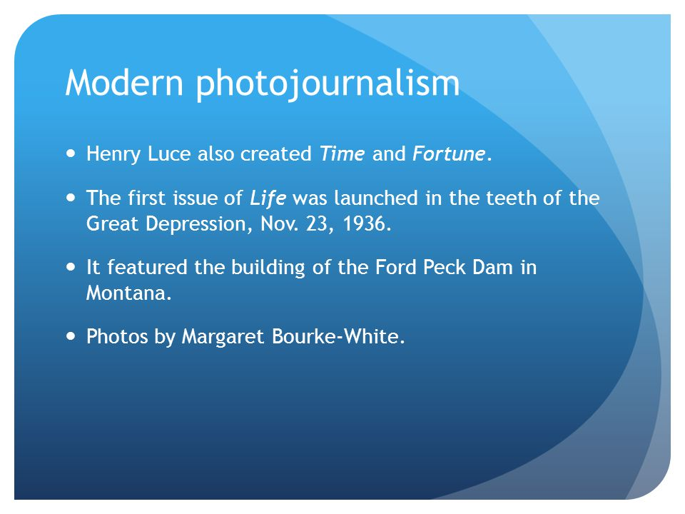 Modern photojournalism Web-based photojournalism tells a story in a way dramatically different from that of the old photo magazines.