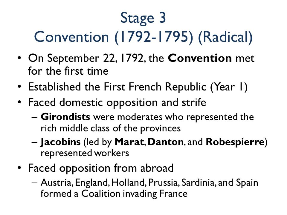 Stage 3 Convention (1792-1795) (Radical) On September 22, 1792, the Convention met for the first time Established the First French Republic (Year 1) F