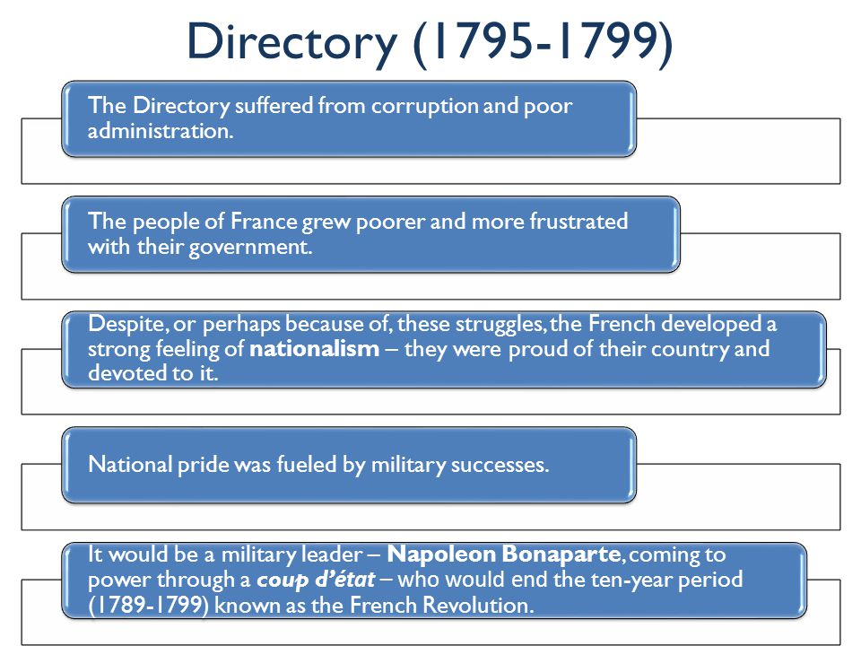 Directory (1795-1799) The Directory suffered from corruption and poor administration. The people of France grew poorer and more frustrated with their