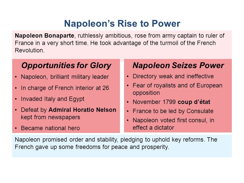 Napoleon promised order and stability, pledging to uphold key reforms. The French gave up some freedoms for peace and prosperity. Napoleon Bonaparte,