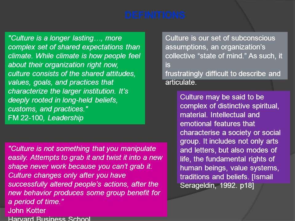Culture is a longer lasting…, more complex set of shared expectations than climate.
