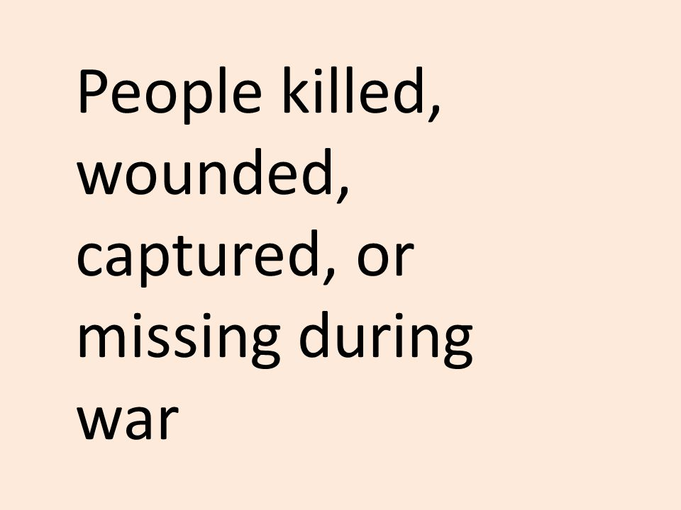 People killed, wounded, captured, or missing during war