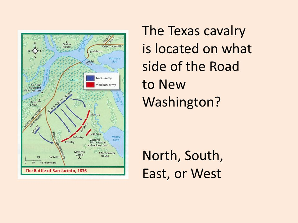The Texas cavalry is located on what side of the Road to New Washington.