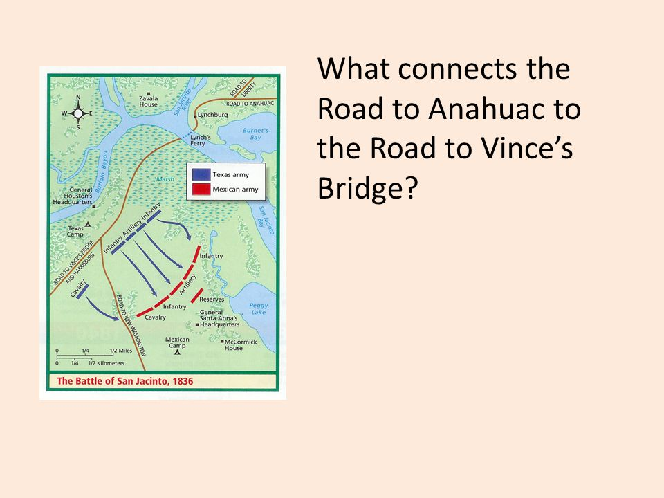 What connects the Road to Anahuac to the Road to Vince's Bridge