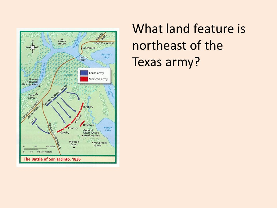 What land feature is northeast of the Texas army