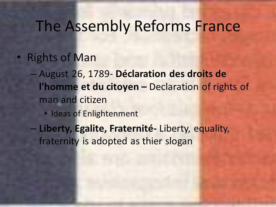 The Assembly Reforms France Rights of Man – August 26, 1789- Déclaration des droits de l'homme et du citoyen – Declaration of rights of man and citize
