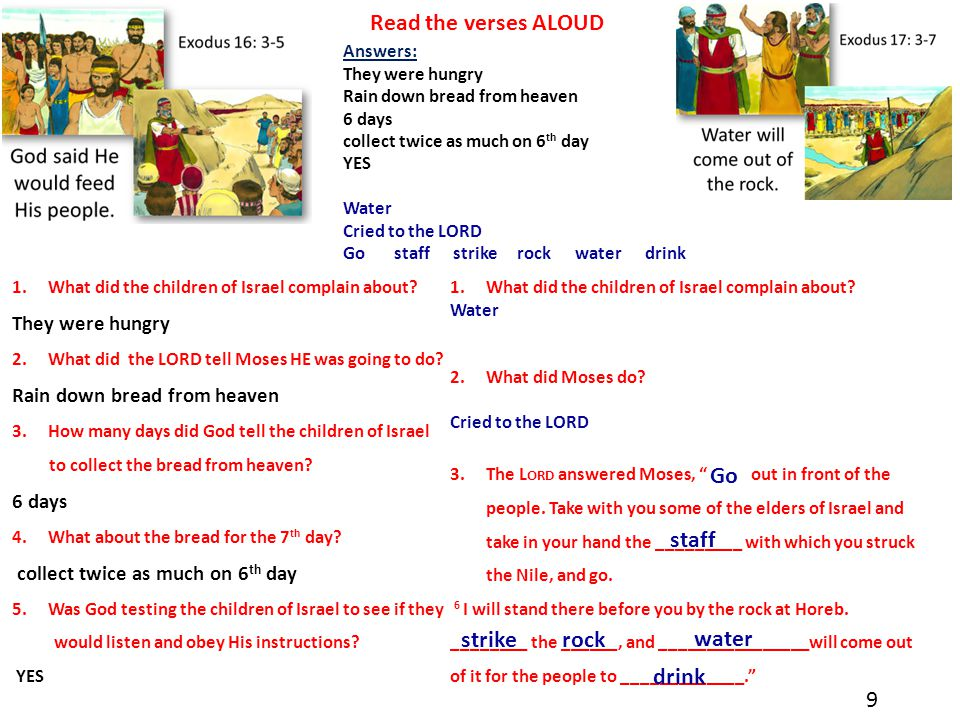 """1.What did the children of Israel complain about? Water 2.What did Moses do? Cried to the LORD 3.The L ORD answered Moses, """" out in front of the peopl"""