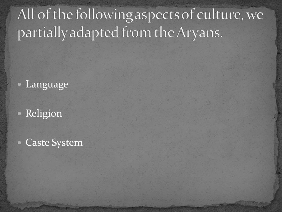 Language Religion Caste System